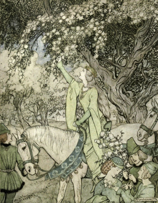 How Queen Guenever rode a-Maying into the woods and fields beside Westminster