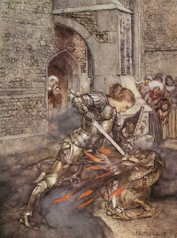 How Sir Lancelot fought with a friendly dragon