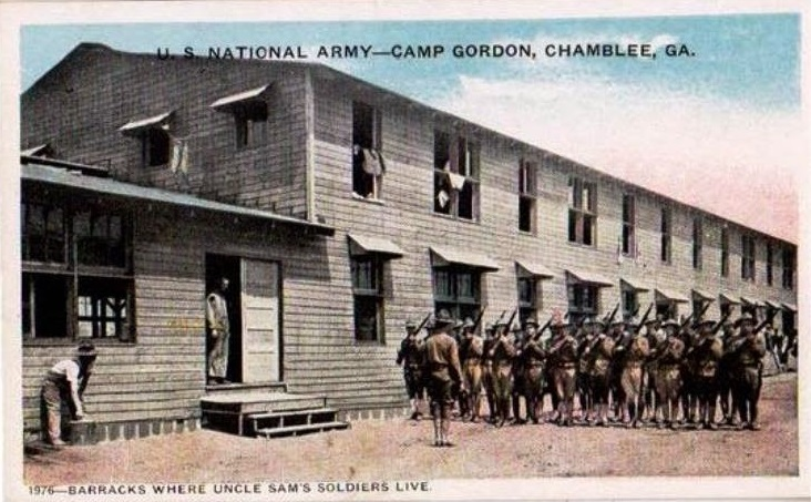 Barracks at Camp Gordon Postcard