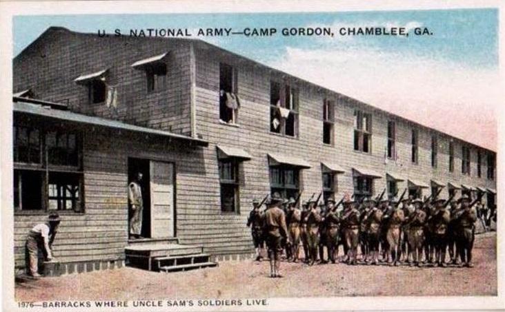 Barracks at Camp Gordon Postcard