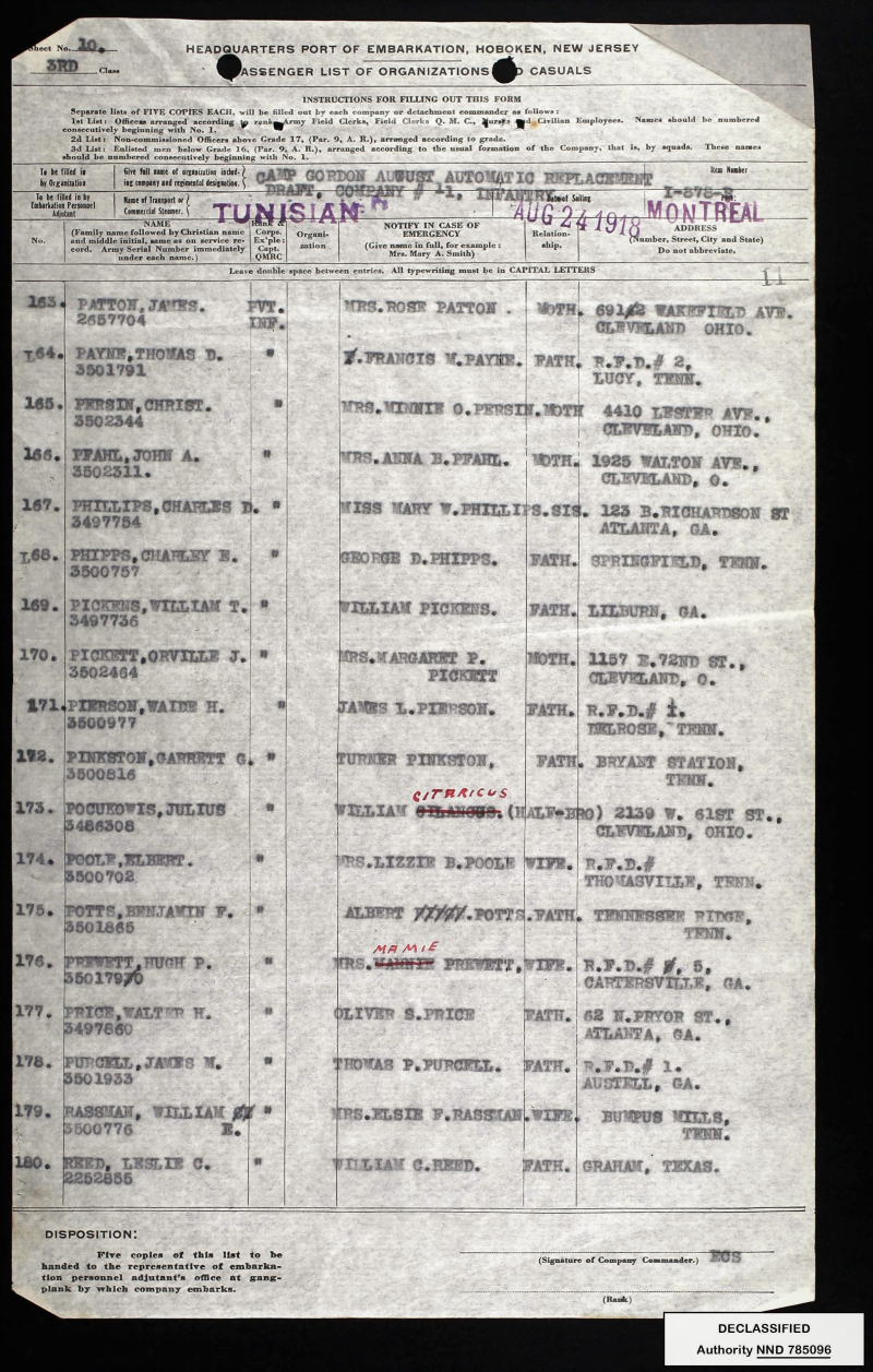 Passenger List  Tunisian  August 24  1918