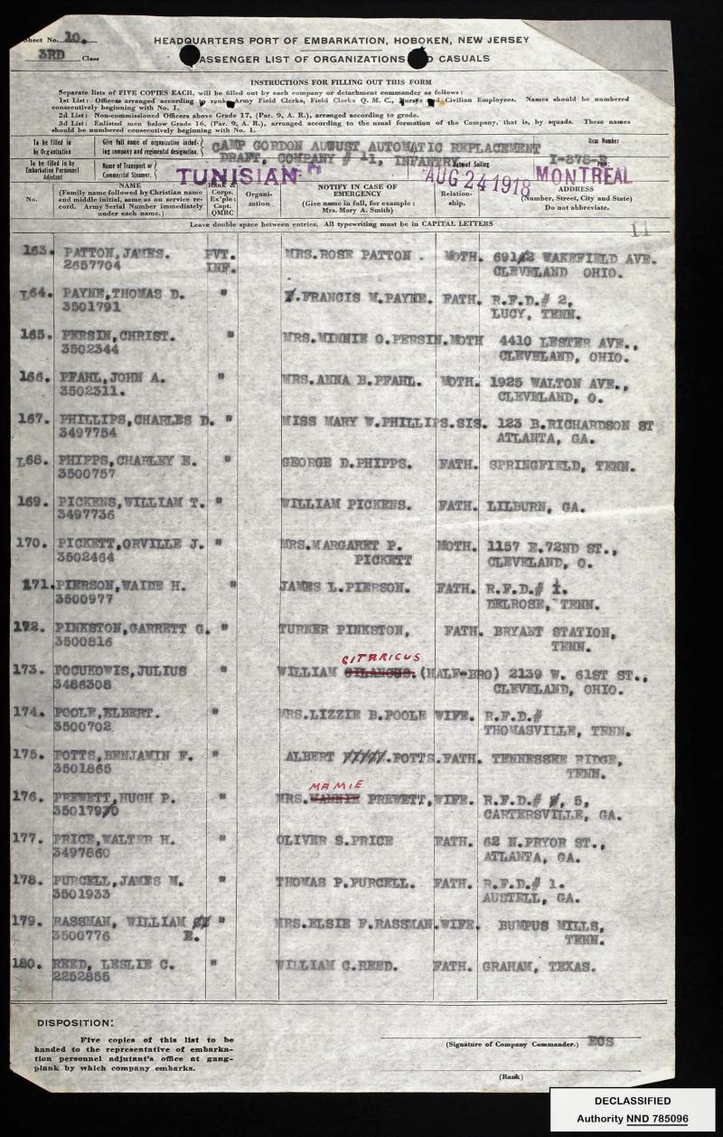 Passenger List  Tunisian  August 24  1918
