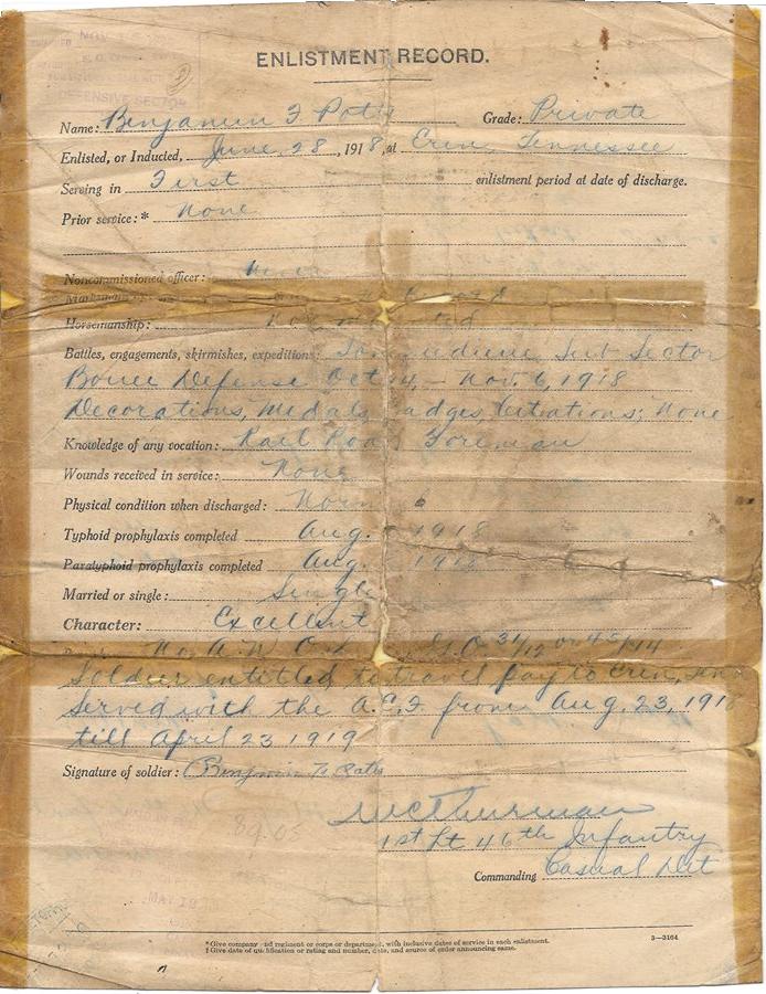 Benjamin Franklin Potts - Enlistment Record
