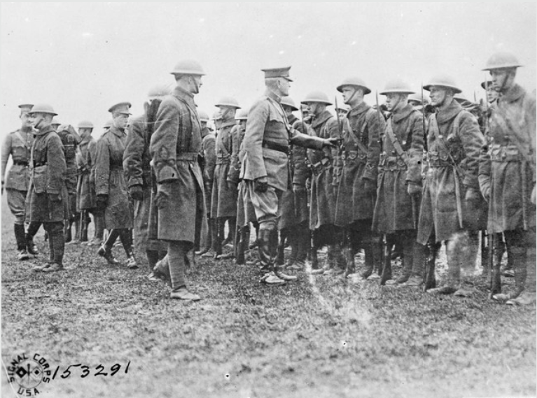 Prince of Wales with General John Pershing inspecting troops of the American 35th Division between Vignot and Boncourt  17 February 1919