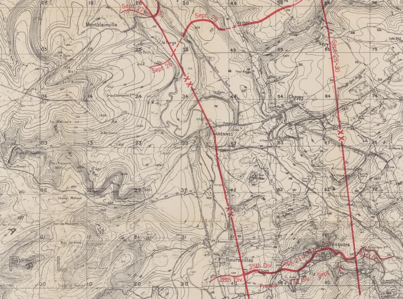 Map section - 35th Division Grange le Comte Meuse-Argonne - American Battle Monuments Commision 1937