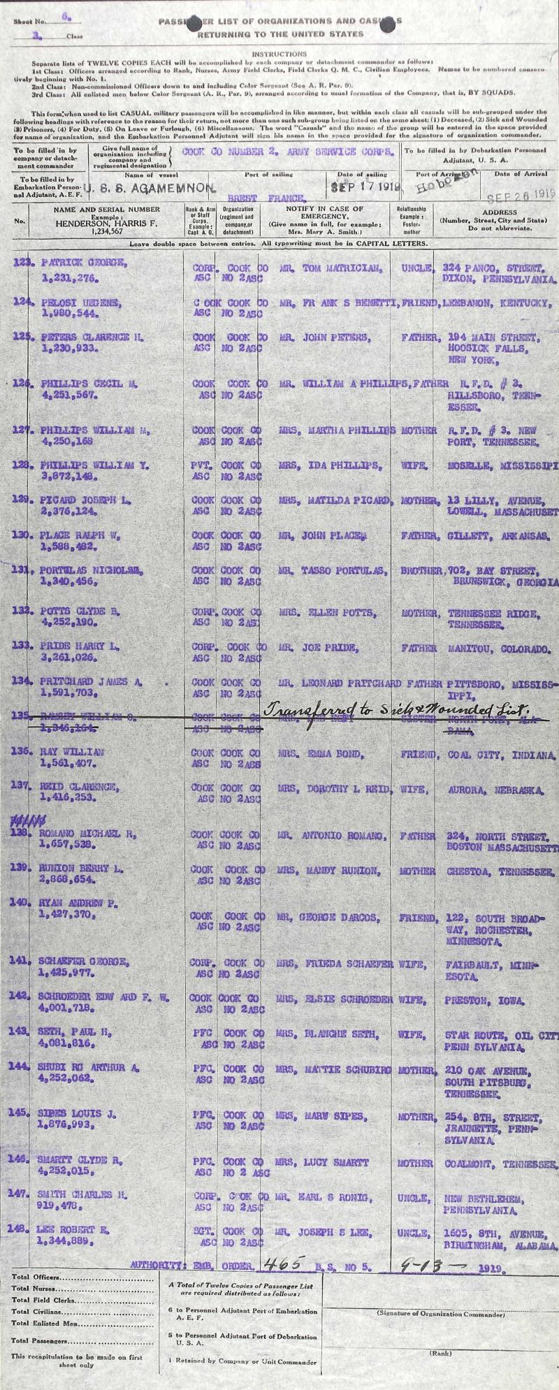 Clyde Brake Agamemnon Brest Hoboken Sept 26 1919
