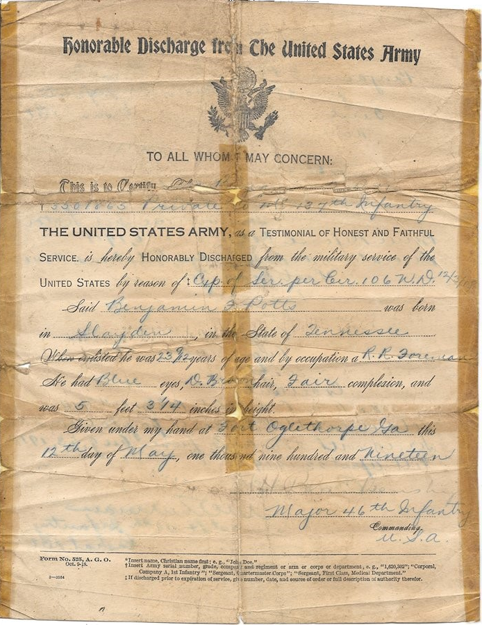 Benjamin Franklin Potts - Honorable Discharge