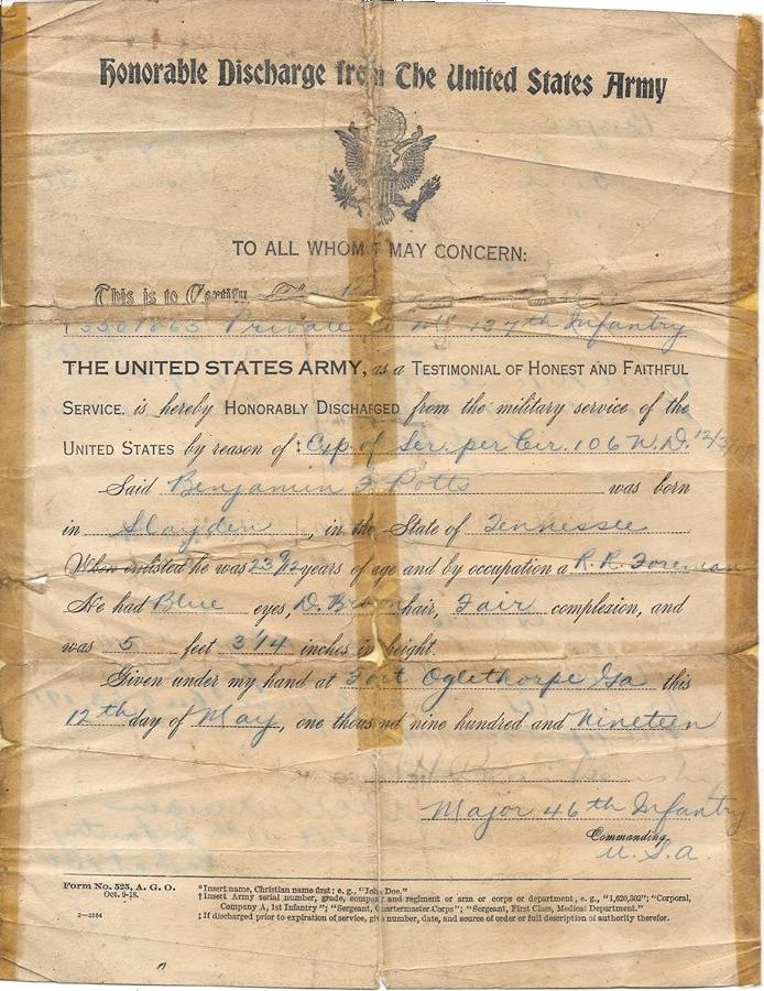 Benjamin Franklin Potts - Honorable Discharge