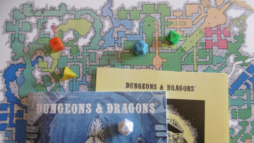 Holmes Basic  Monster and Treasure Assortment  Dice  and The Deep Halls Map by Dyson Logos